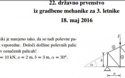 Tekmovanje iz gradbene mehanike v šolskem letu 2015/16